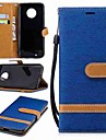 Кейс для Назначение Motorola MOTO G6 / G5 Plus Кошелек / Бумажник для карт / со стендом Чехол Однотонный Твердый текстильный для MOTO G6 / Мото G5 Plus / Moto G5 / Мото G4 Plus