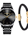 Муж. Нарядные часы Японский Кварцевый Нержавеющая сталь Черный / Серебристый металл 30 m Защита от влаги Календарь Секундомер Аналоговый Роскошь Классика Элегантный стиль - / Два года / Два года