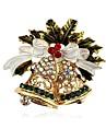 女性用 クラシック ブローチ - ラインストーン ベル クラシック ブローチ ゴールド 用途 クリスマス