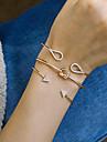 Femme Zircon Creux Torsade Bracelets Rigides Manchettes Bracelets - Goutte simple, Geometrique, Boheme Bracelet Or / Argent Pour Soiree Cadeau Quotidien / 3pcs