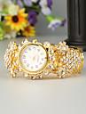FEIS Damen Uhr Armband-Uhr Quartz Legierung Gold Chronograph Analog-Digital damas Modisch Gold