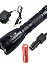 UltraFire LED Flashlights / Torch LED LED 1 Emitters 2200/1000 lm 5 Mode with Battery and Chargers Waterproof Adjustable Focus Rechargeable Camping / Hiking / Caving Everyday Use Working Black