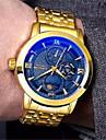 בגדי ריקוד גברים שעון מכני אוטומטי נמתח לבד זהב 30 m עמיד במים שעונים יום יומיים אנלוגי פאר אופנתי מפואר - לבן שחור כחול