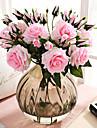 פרחים מלאכותיים 3 ענף קלאסי ארופאי סגנון מינימליסטי ורדים פרחים נצחיים פרחים לשולחן