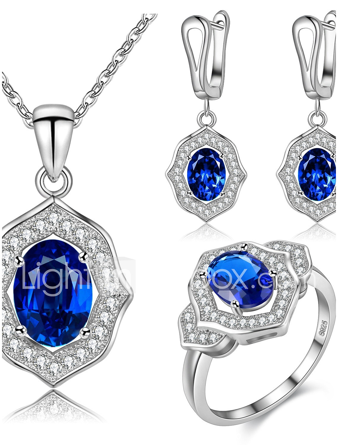 bc1df16ad64a3 Women's Sapphire AAA Cubic Zirconia Drop Earrings Pendant Necklace ...